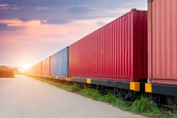 Freight Train With Cargo Containers, Transport, Shipping, Import, Export On The Sky Background
