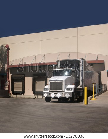 Freight Truck at loading bay with copy space