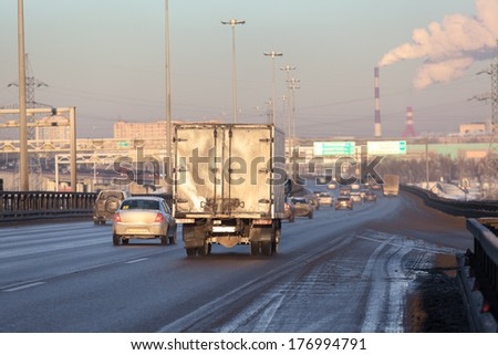 Freight truck on the city highway #176994791
