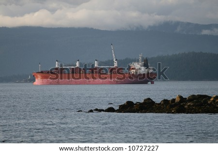 Freight Vessel Moored On Pacific Coast