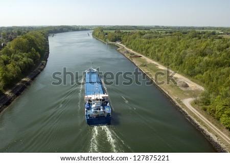 Freight vessel on Kiel Canal, Germany