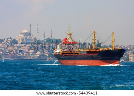 Freighter before Istanbul Skyline, Turkey - stock photo