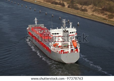 freighter on Kiel Canal, Germany