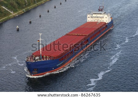 freighter on the Kiel Canal, Germany