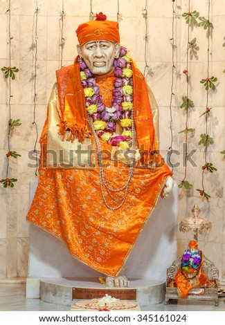 FREMONT, CA- USA NOVEMBER 2015 - Hindu God Shirdi Sai Baba idol in Hindu temple. Sai Baba was an Indian spiritual master who was and is regarded by his devotees as a saint, fakir, and sat guru