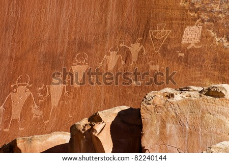 Fremont indian culture petroglyph in the National Park Capitol Reef