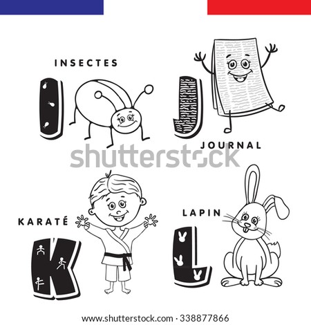 French alphabet. Insect, newspaper, karate, rabbit, letters and characters.
