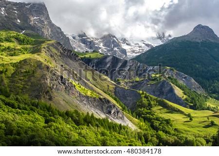 French alps near La Grave in summer. alpine meadows in france #480384178