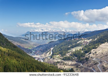 French Alps. View of Meribel ski resort.