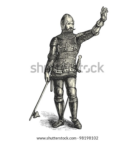 "French armored man in1370  - vintage engraved illustration - ""Dictionnaire encyclop�©dique universel illustr�©"" By Jules Trousset - 1891 Paris"