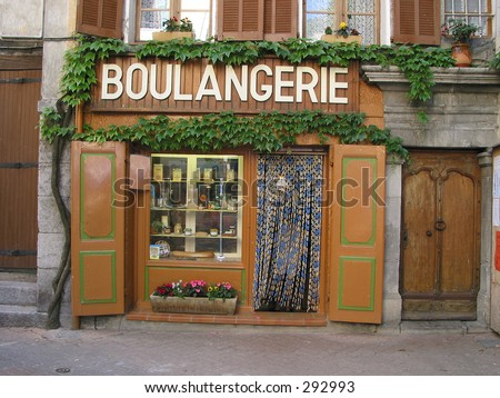 French bakery found in a litte village. Products in the window are softed to hide trademarks.