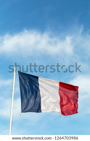 French blue, white and red flag is agitated by stong wind. The Tricolour National Flag of France flutters in the sky. Vertical view. #1264703986