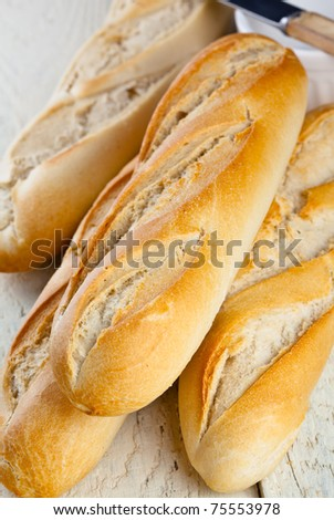 French Bread on a rustic table