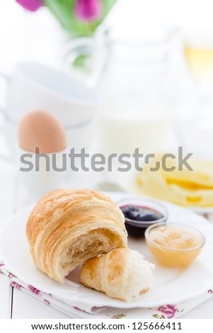 French breakfast with croissant, cheese, egg and jam
