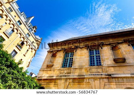 french buildings (Paris) - sunny day with blue sky