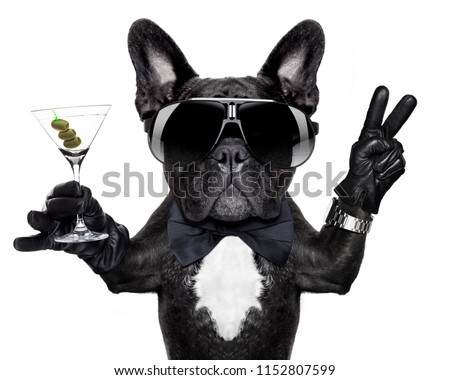french bulldog dog with martini cocktail and victory or peace fingers wearing a retro wrist watch #1152807599