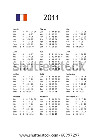 French calendar of year 2011 - black text on white background