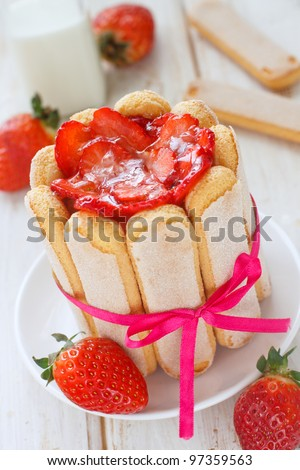 French charlotte with strawberries