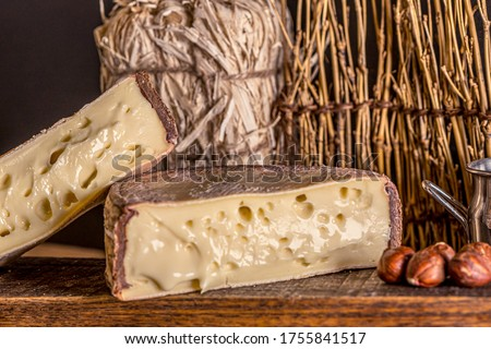 French cheese Saint Nectaire rustic collection delicious. Black background.