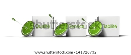 French concept, Word 'qualite, fiabilite, service' written on three cubes with targets and arrows against the side of each one, 3D render image. Photo stock ©