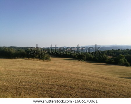French countryside in Summer with open fields, Larzac, South of France