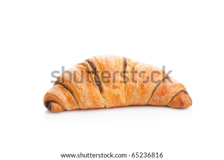 French croissant with chocolate on white background - stock photo