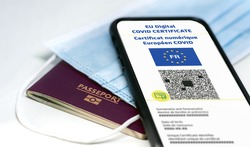 French EU Digital COVID Certificate with the QR code. Translation from french