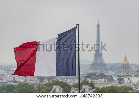 French flag and Eiffel Tower in Paris #648742303