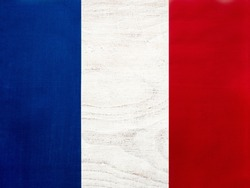 French Flag. Beautiful greeting card. Close-up, view from above. National holiday concept. Congratulations for family, relatives, friends and colleagues