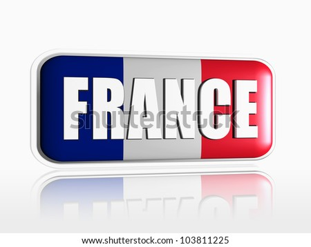 French flag 3d banner with white text