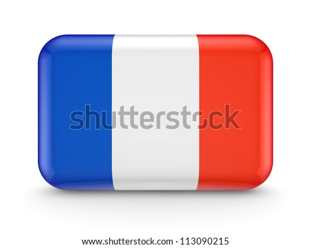 French flag icon.Isolated on white background.3d rendered.