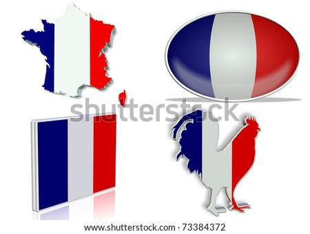 French flag in 4 different designs, in shape of the country, oval shape, flat on an angle, in a shape of a national symbol / France flag