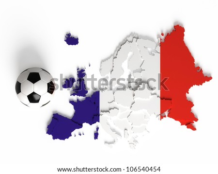 French flag on European map with national borders, isolated on white background