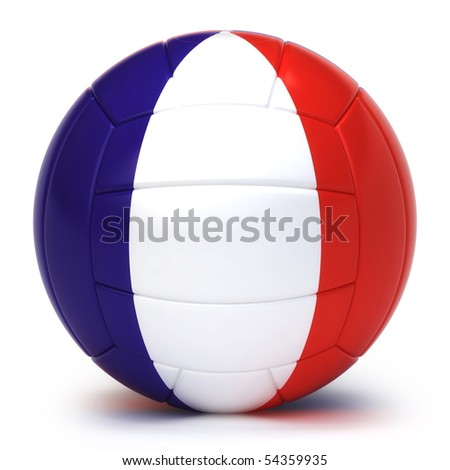 French flag on volleyball ball isolated over white