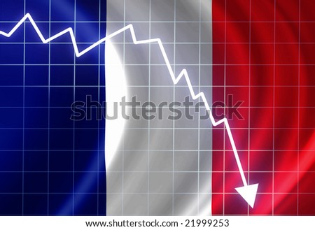 French flag waving in the wind: crisis