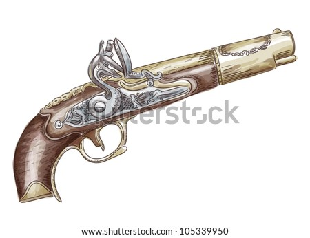 French flintlock antique pistol (late 18th - early 19th Century).  Raster version. Watercolor style.