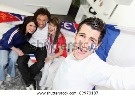 French football fans celebrating
