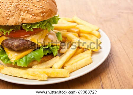 french fries and big cheeseburger