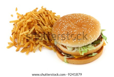 french fries and hamburger against white background