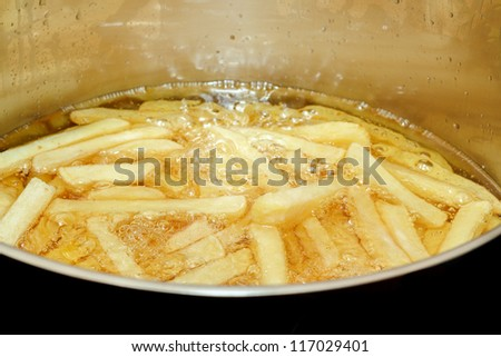 French fries frying in hot oil with space for text