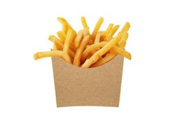 French fries in a brown kraft paper bag isolated on a white background