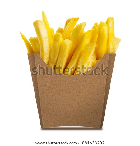 Photo of  French fries in a brown kraft paper box isolated on a white background. Front view. French fries in a paper wrapper.