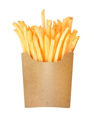 french fries in a paper cup on a white background
