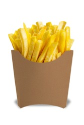 French Fries in a paper wrapper on white background.