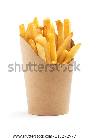 french fries in a paper wrapper on white background ストックフォト ©