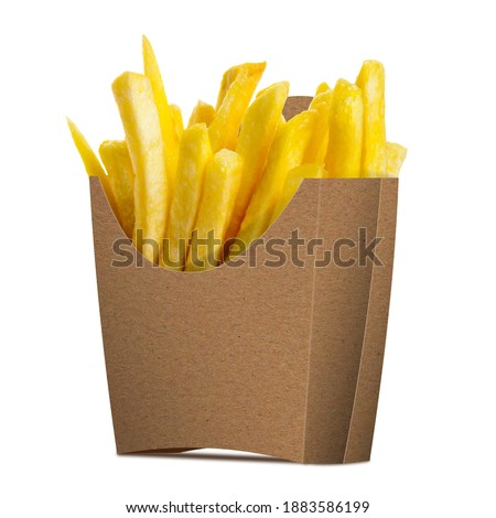 Photo of  French Fries in a paper wrapper on white background. Half Side View.