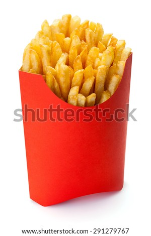 Shutterstock French fries in a red carton box, isolated on the white background, clipping path included.