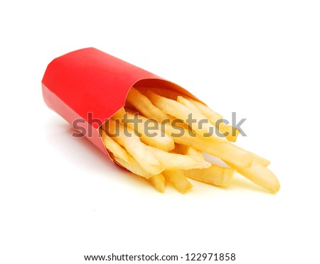 french fries in a red paper wrapper on white background