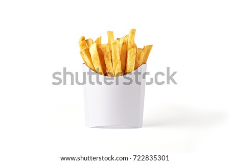 French fries in a white paper box isolated on white background. Front view. #722835301
