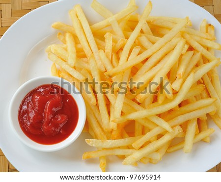 French fries in a white plate
